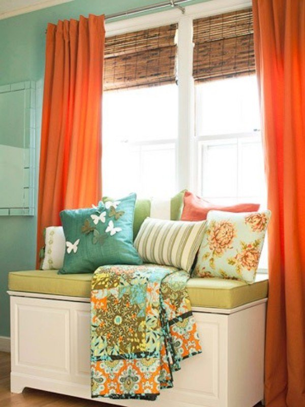 Living Room Curtains Ideas Orange Color